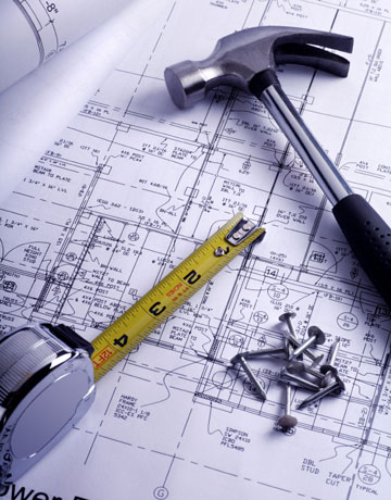 building plans and hammer