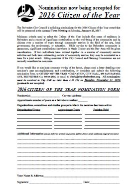 2016 Citizen of the Year Nomination Form