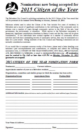 Citizen of the Year nomination form