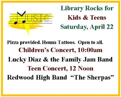 Belvedere Tiburon Library Kids Rock Event Flyer