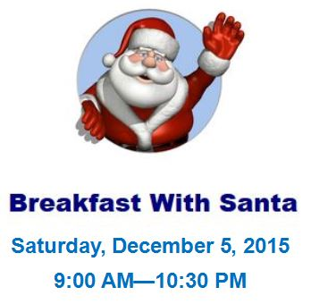 Breakfast with Santa Flyer with Santa Waving