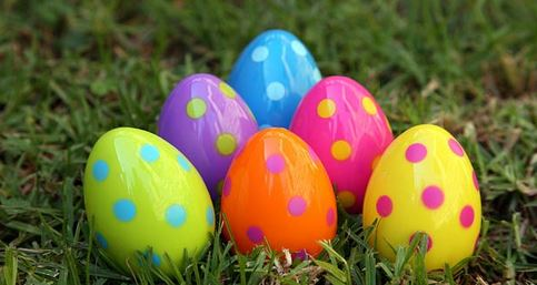 polka dot easter eggs in the grass