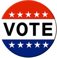 Red white and blue vote icon