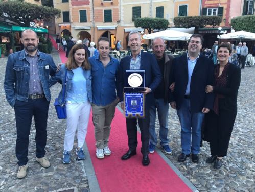 Belvedere Mayor James Campbell with representatives from Portofino Italy